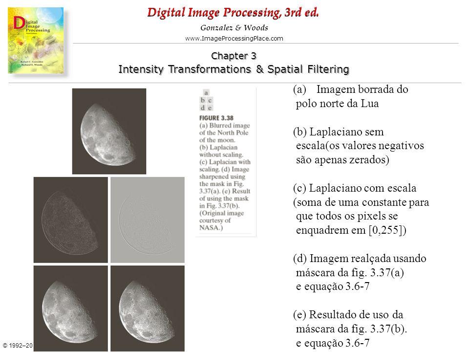 Imagem borrada do polo norte da Lua. (b) Laplaciano sem. escala(os valores negativos. são apenas zerados)