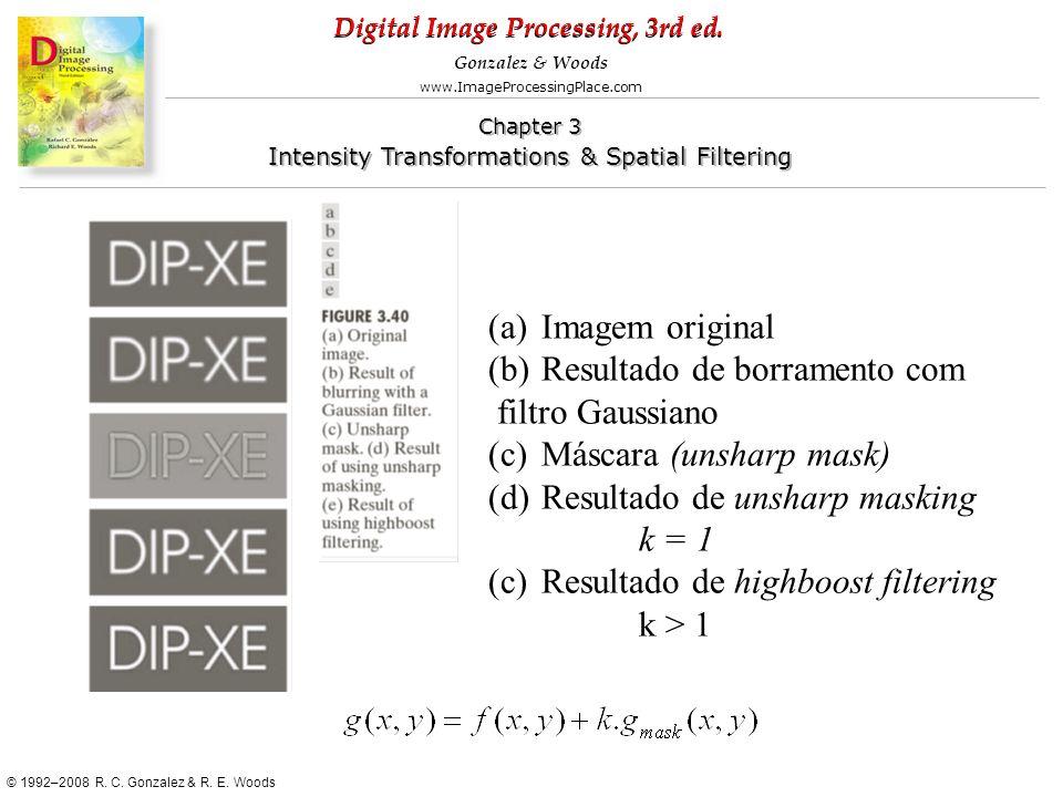 Imagem original Resultado de borramento com. filtro Gaussiano. Máscara (unsharp mask) Resultado de unsharp masking.