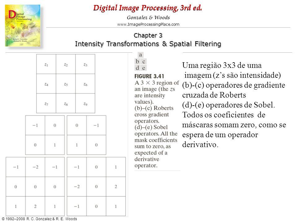 Uma região 3x3 de uma imagem (z's são intensidade) (b)-(c) operadores de gradiente cruzada de Roberts.