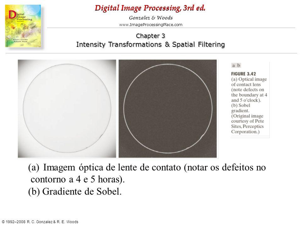 Imagem óptica de lente de contato (notar os defeitos no