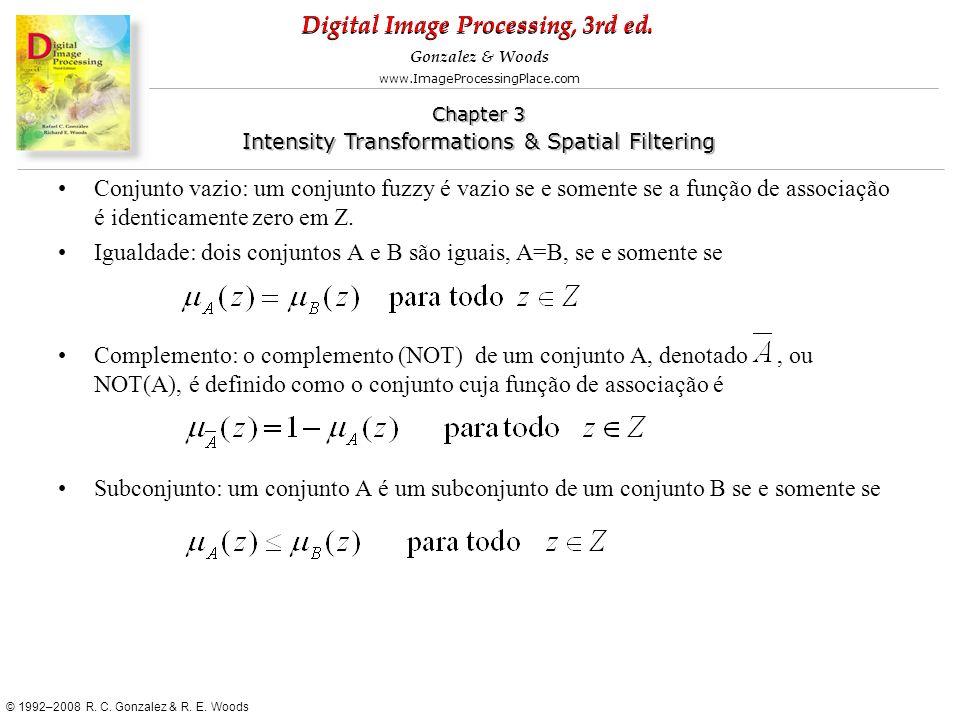 Conjunto vazio: um conjunto fuzzy é vazio se e somente se a função de associação é identicamente zero em Z.