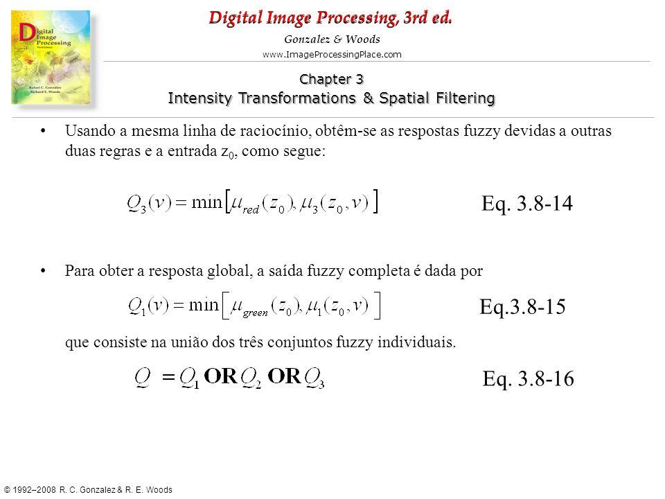 Usando a mesma linha de raciocínio, obtêm-se as respostas fuzzy devidas a outras duas regras e a entrada z0, como segue: