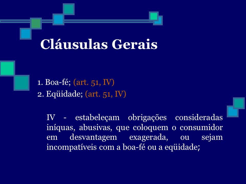 Cláusulas Gerais 1. Boa-fé; (art. 51, IV) 2. Eqüidade; (art. 51, IV)