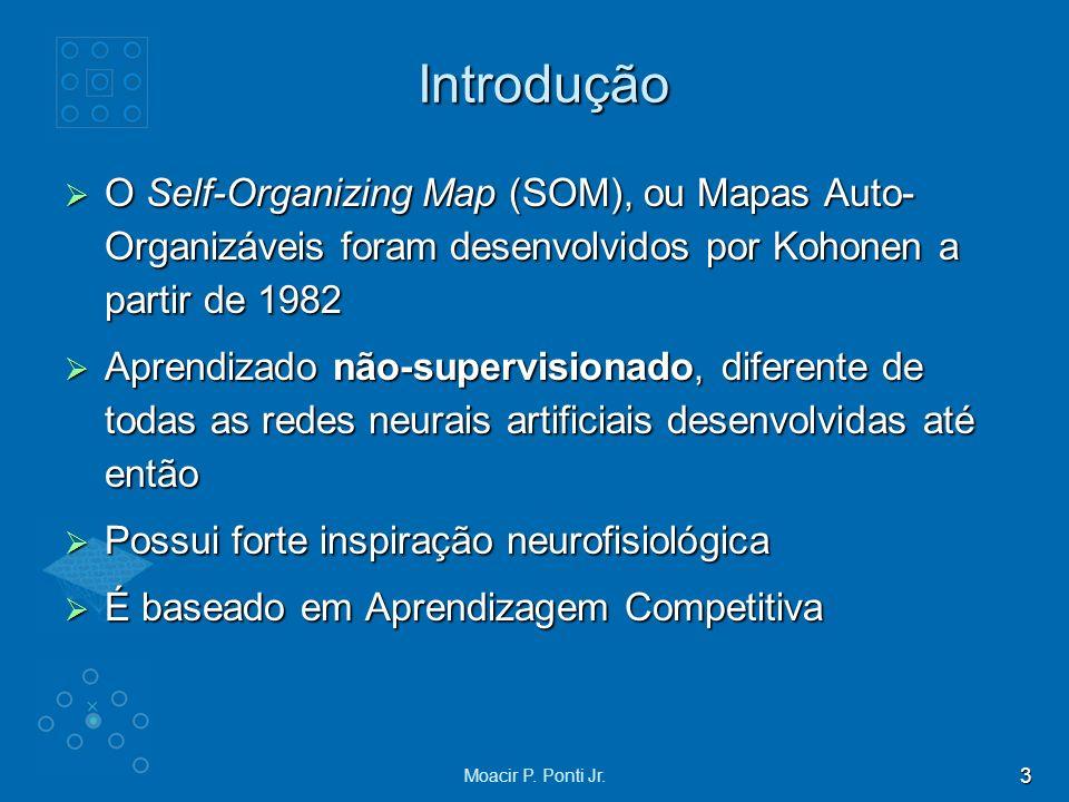 Introdução O Self-Organizing Map (SOM), ou Mapas Auto-Organizáveis foram desenvolvidos por Kohonen a partir de 1982.