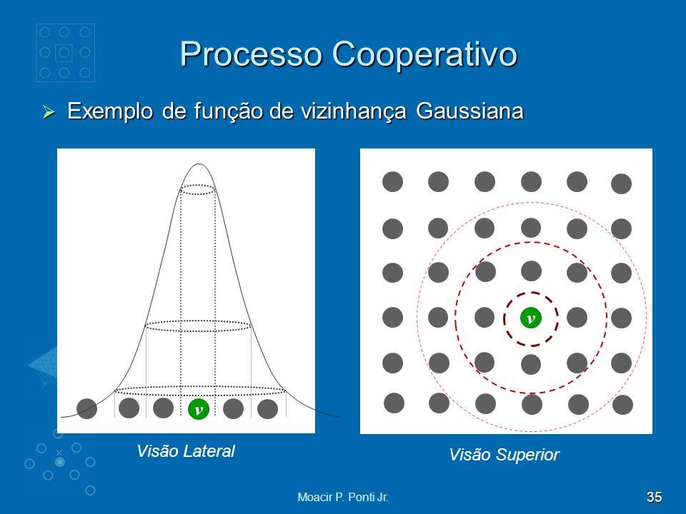 Processo Cooperativo Exemplo de função de vizinhança Gaussiana v v