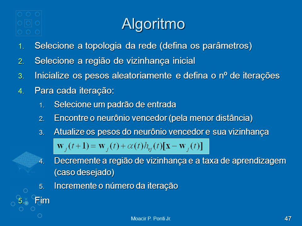 Algoritmo Selecione a topologia da rede (defina os parâmetros)