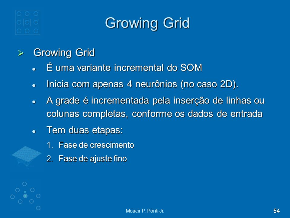 Growing Grid Growing Grid É uma variante incremental do SOM