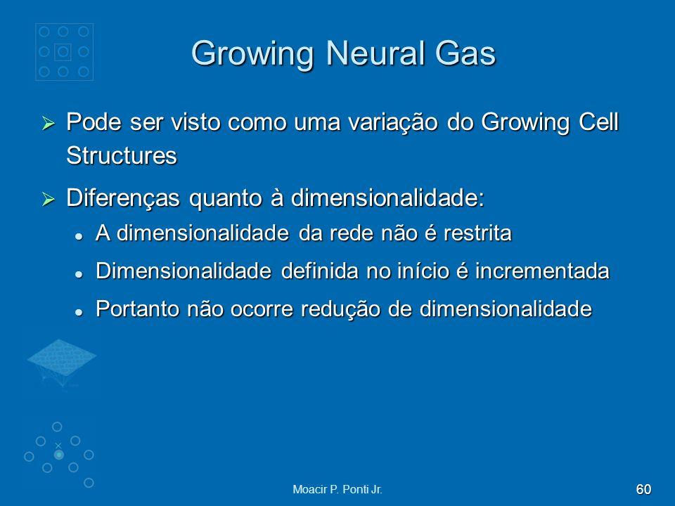 Growing Neural Gas Pode ser visto como uma variação do Growing Cell Structures. Diferenças quanto à dimensionalidade: