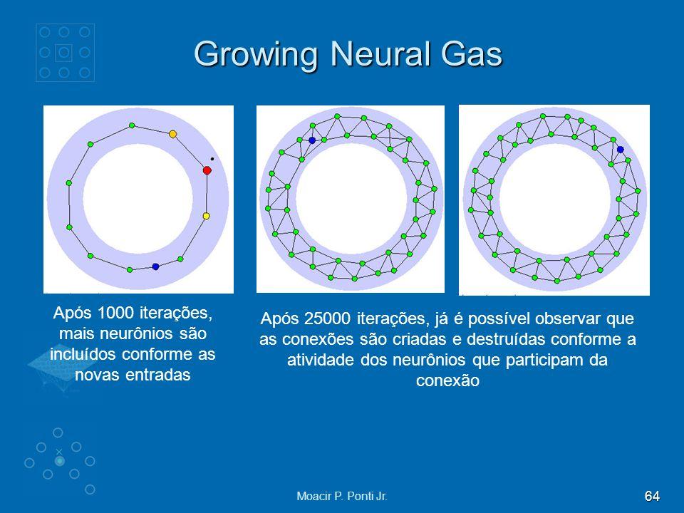 Growing Neural Gas Após 1000 iterações, mais neurônios são incluídos conforme as novas entradas.
