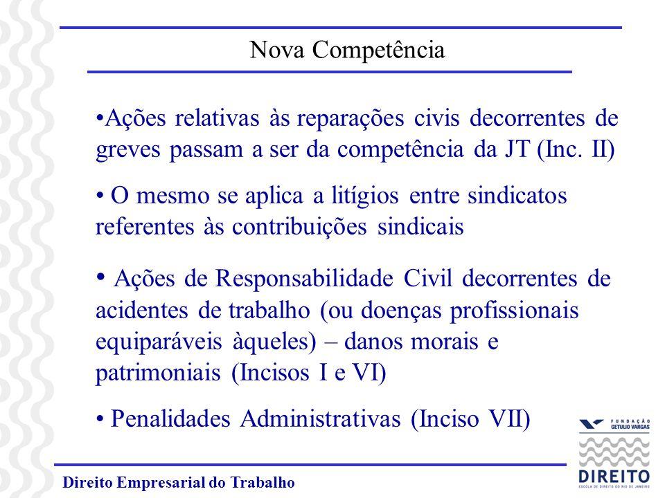 Nova Competência Ações relativas às reparações civis decorrentes de greves passam a ser da competência da JT (Inc. II)