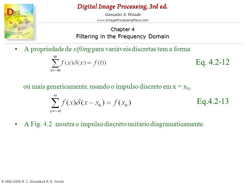 A propriedade de sifting para variáveis discretas tem a forma
