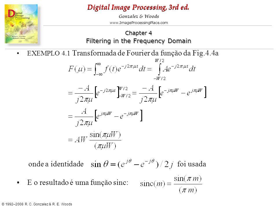 onde a identidade foi usada E o resultado é uma função sinc: