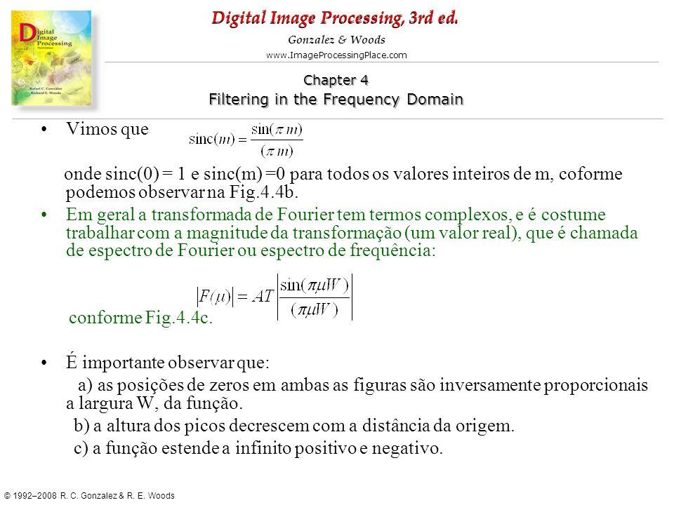 Vimos que onde sinc(0) = 1 e sinc(m) =0 para todos os valores inteiros de m, coforme podemos observar na Fig.4.4b.
