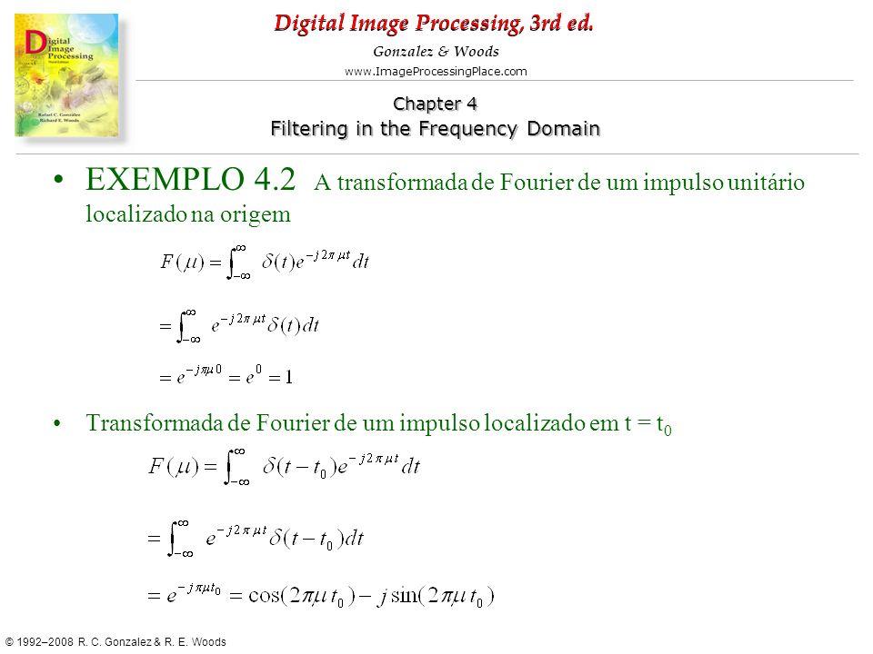 EXEMPLO 4.2 A transformada de Fourier de um impulso unitário localizado na origem