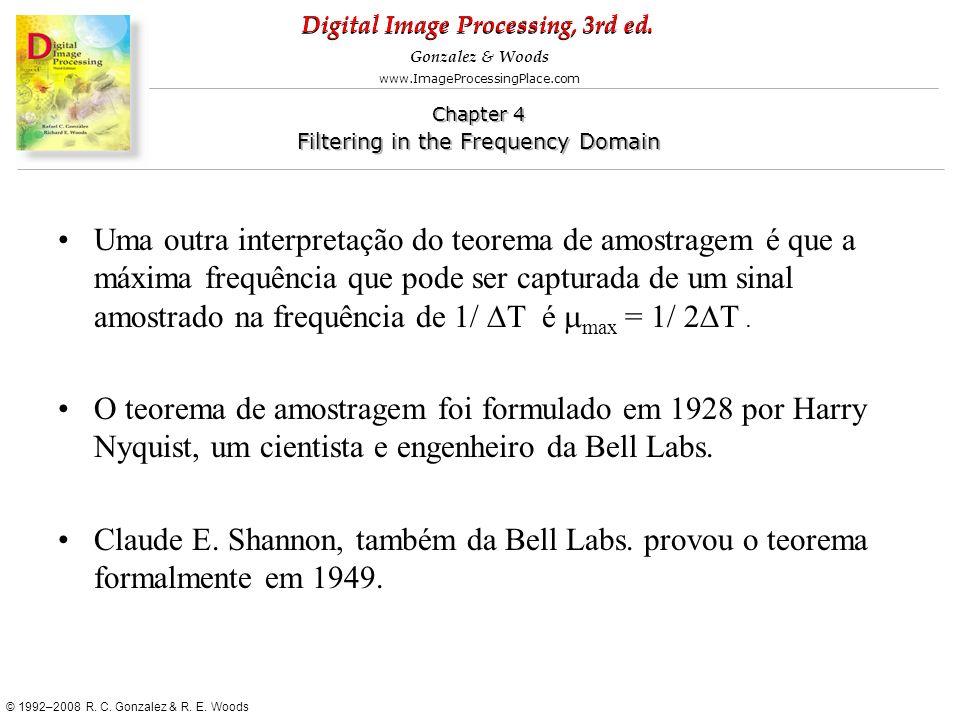 Uma outra interpretação do teorema de amostragem é que a máxima frequência que pode ser capturada de um sinal amostrado na frequência de 1/ DT é mmax = 1/ 2DT .