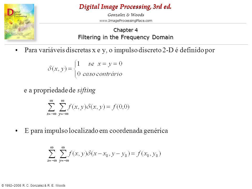 Para variáveis discretas x e y, o impulso discreto 2-D é definido por