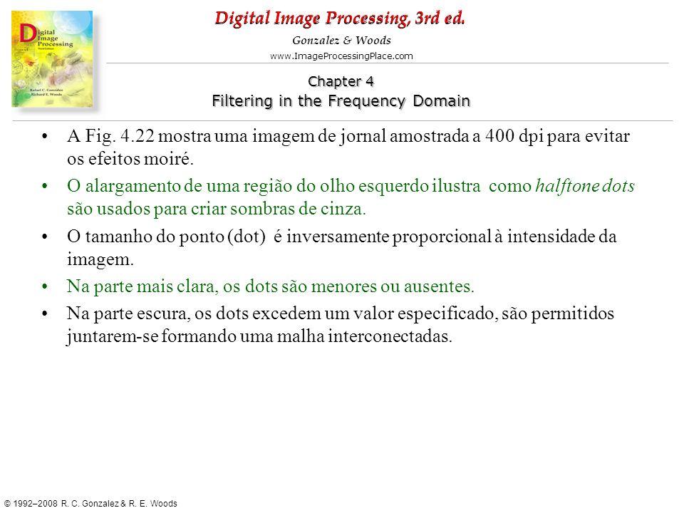 A Fig. 4.22 mostra uma imagem de jornal amostrada a 400 dpi para evitar os efeitos moiré.
