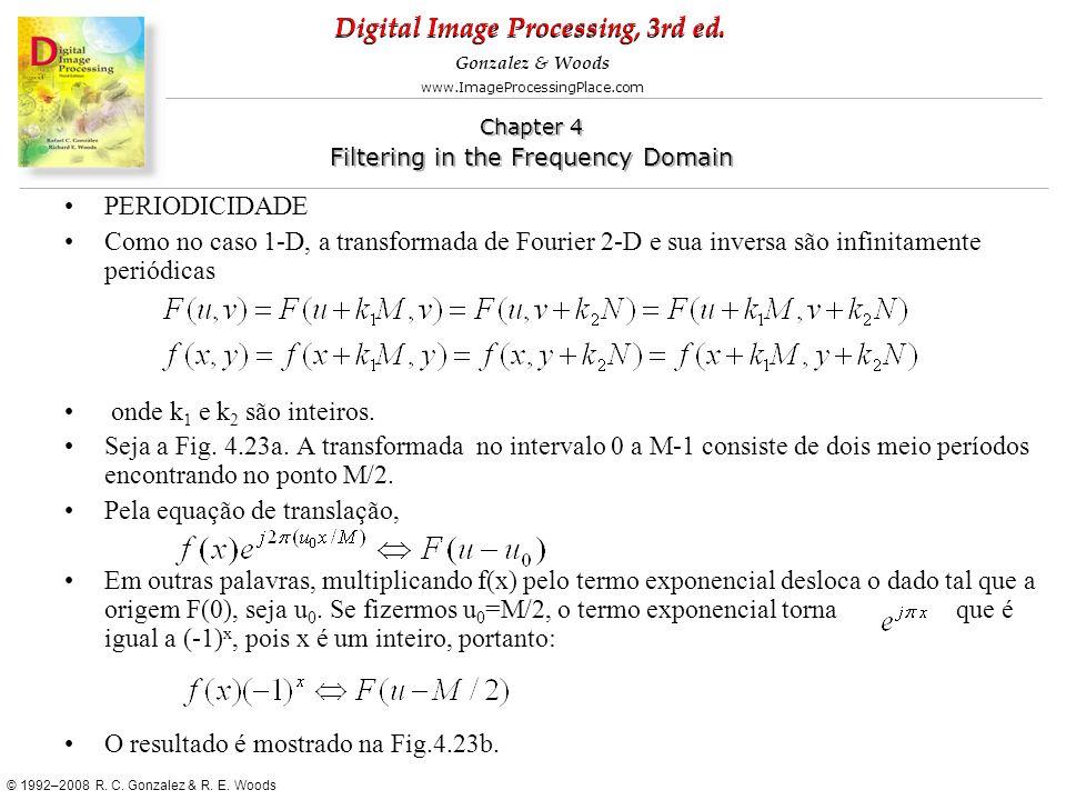 PERIODICIDADE Como no caso 1-D, a transformada de Fourier 2-D e sua inversa são infinitamente periódicas.