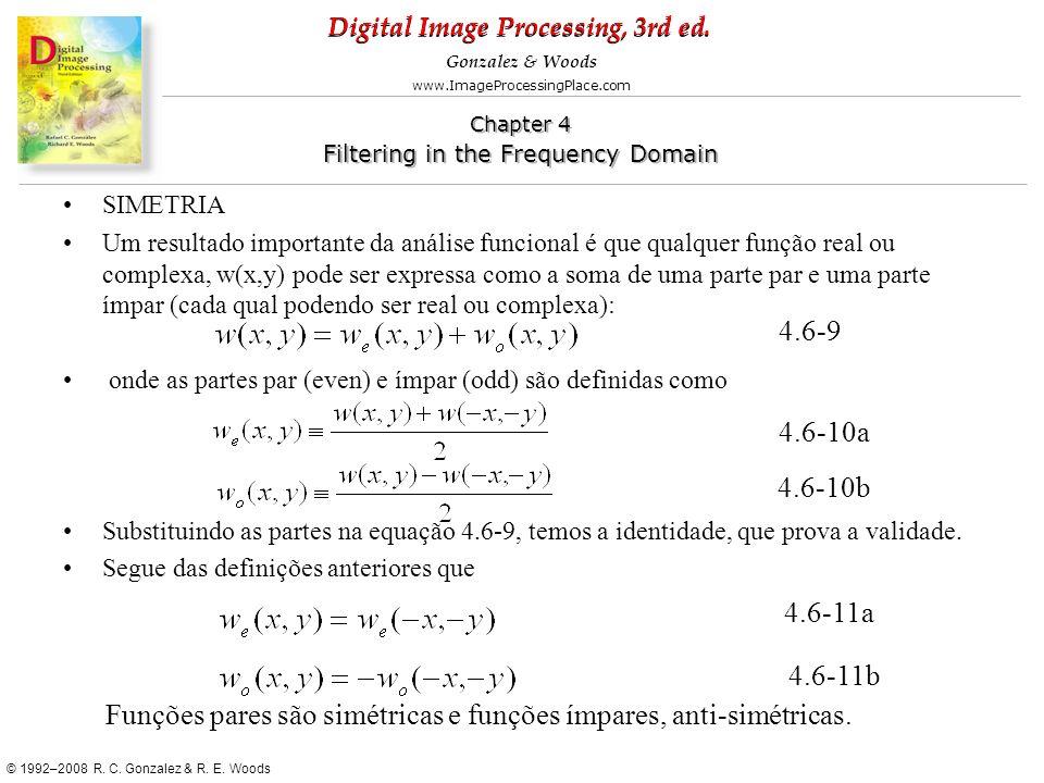 Funções pares são simétricas e funções ímpares, anti-simétricas.