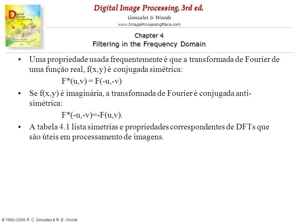 Uma propriedade usada frequentemente é que a transformada de Fourier de uma função real, f(x,y) é conjugada simétrica: