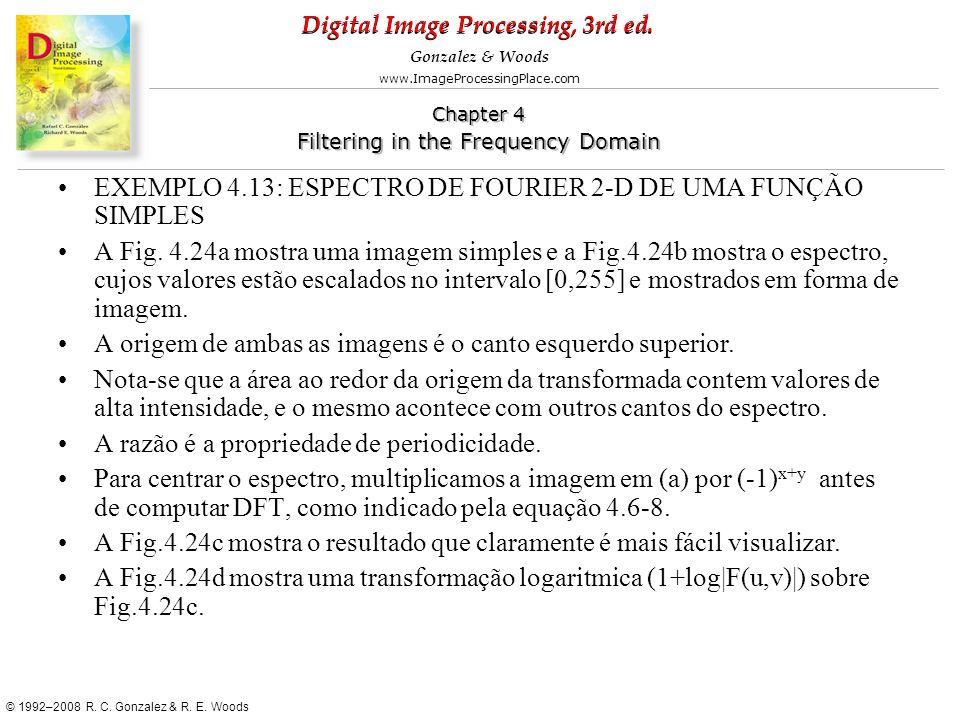 EXEMPLO 4.13: ESPECTRO DE FOURIER 2-D DE UMA FUNÇÃO SIMPLES