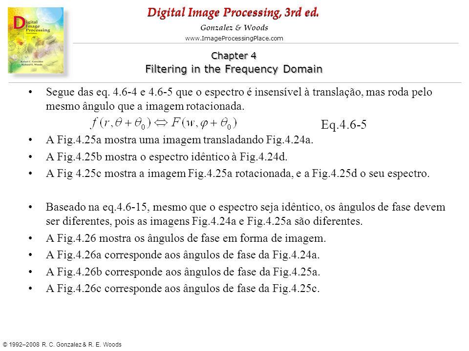 Segue das eq. 4.6-4 e 4.6-5 que o espectro é insensível à translação, mas roda pelo mesmo ângulo que a imagem rotacionada.