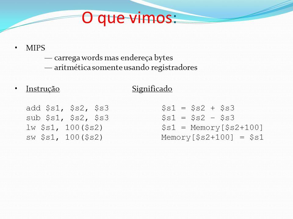 O que vimos: MIPS — carrega words mas endereça bytes — aritmética somente usando registradores.
