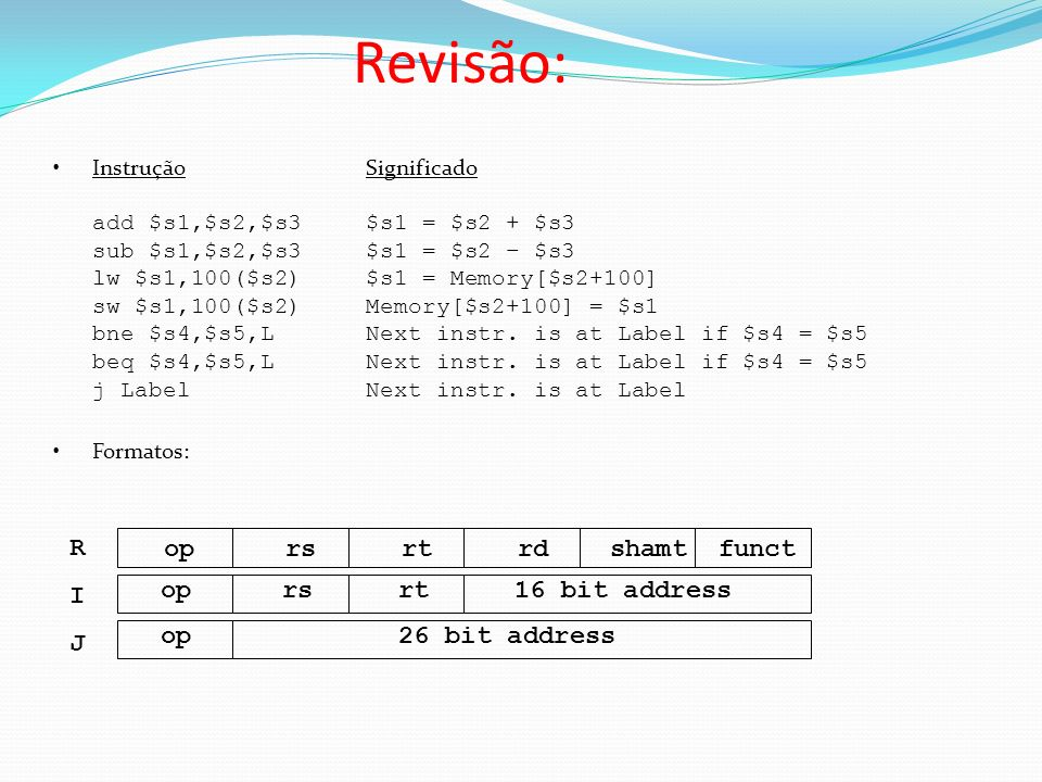 Revisão: op rs rt rd shamt funct R I op rs rt 16 bit address J