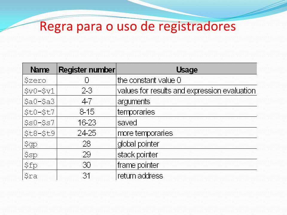 Regra para o uso de registradores