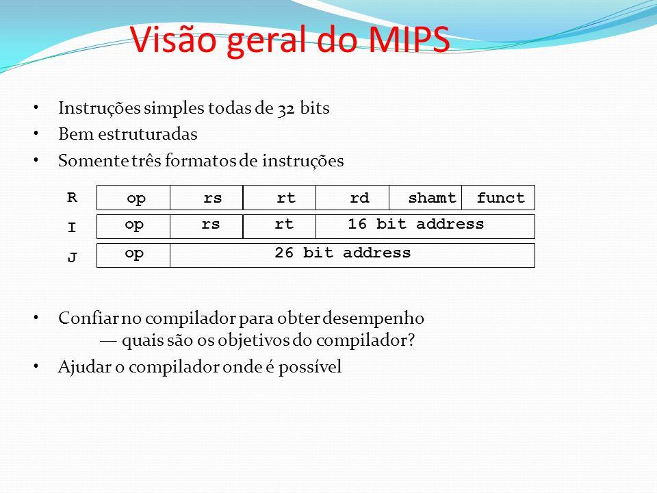 Visão geral do MIPS Instruções simples todas de 32 bits