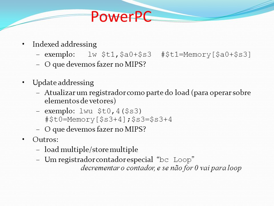 PowerPC Indexed addressing