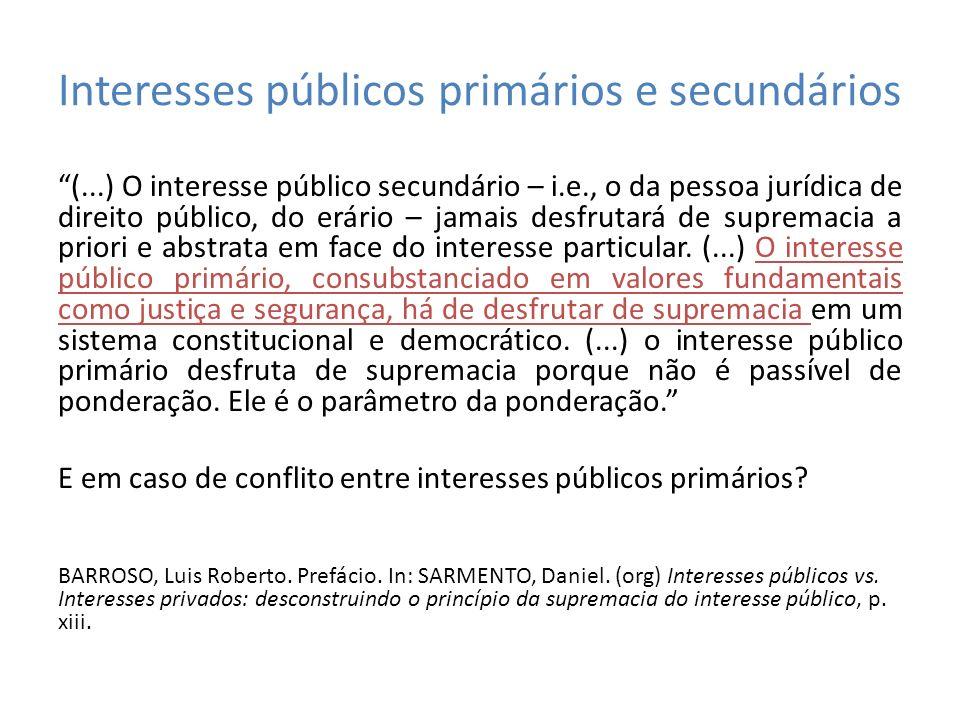 Interesses públicos primários e secundários