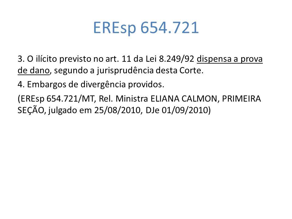 EREsp 654.721 3. O ilícito previsto no art. 11 da Lei 8.249/92 dispensa a prova de dano, segundo a jurisprudência desta Corte.