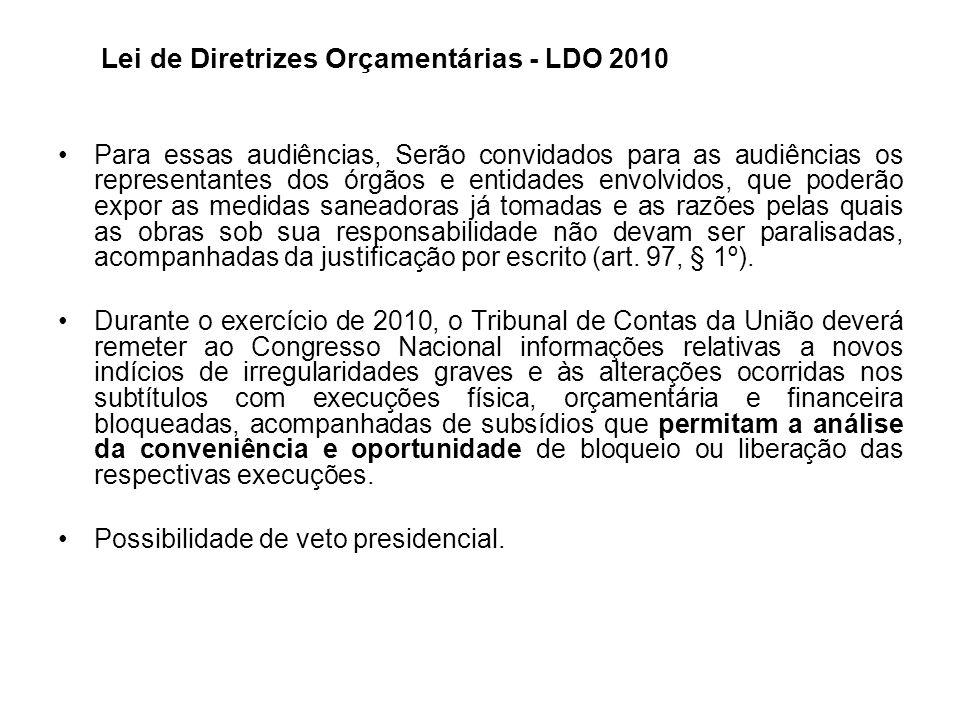 Lei de Diretrizes Orçamentárias - LDO 2010