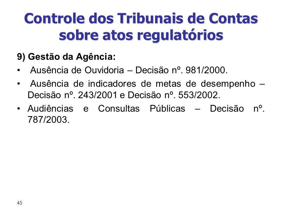 Controle dos Tribunais de Contas sobre atos regulatórios