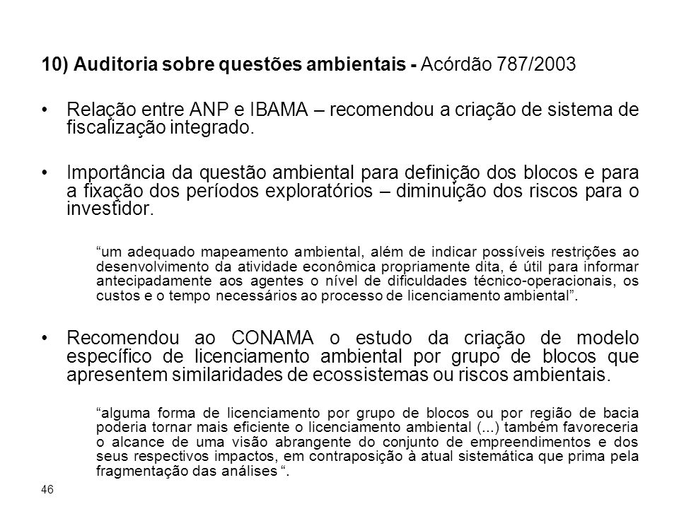 10) Auditoria sobre questões ambientais - Acórdão 787/2003