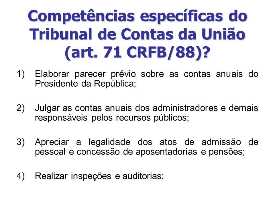 Competências específicas do Tribunal de Contas da União (art