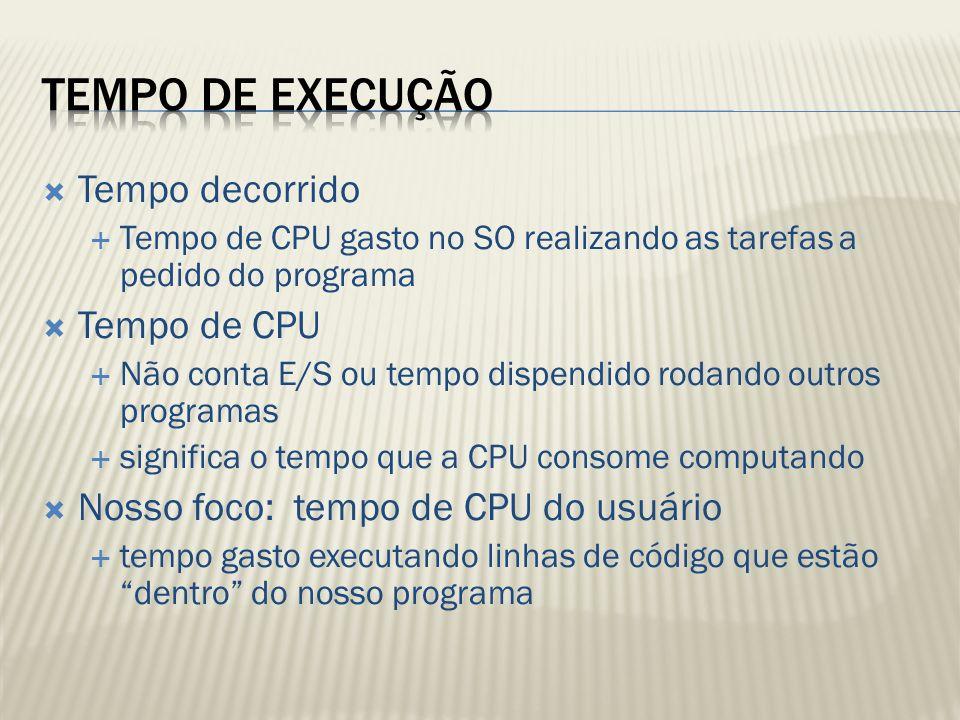 Tempo de Execução Tempo decorrido Tempo de CPU