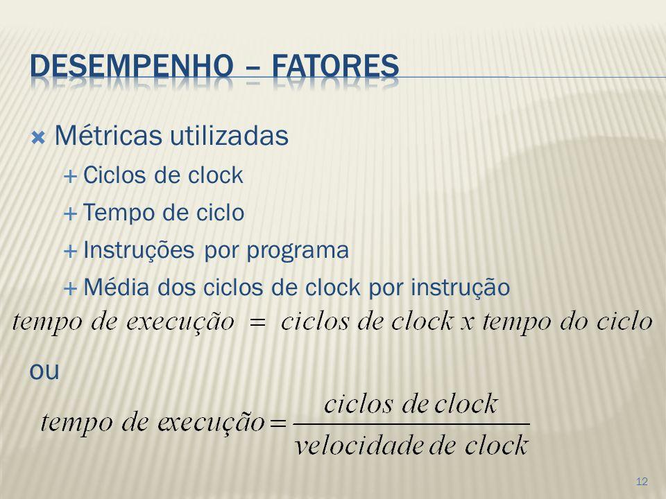 Desempenho – fatores Métricas utilizadas ou Ciclos de clock