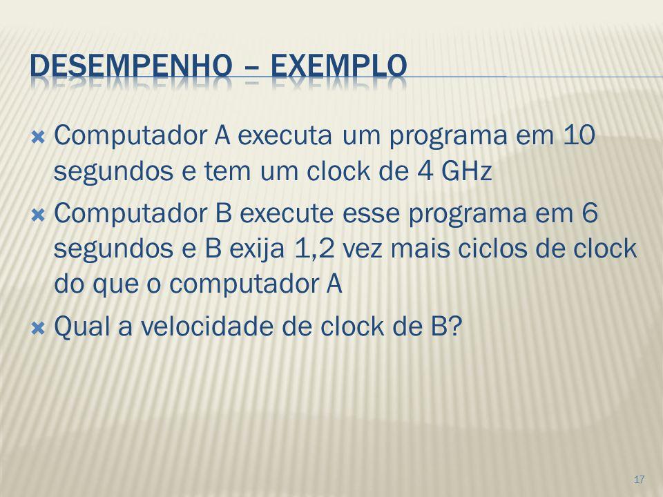 Desempenho – exemplo Computador A executa um programa em 10 segundos e tem um clock de 4 GHz.
