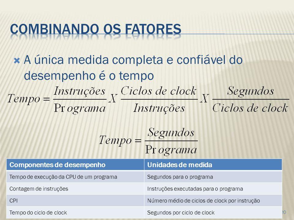 combinando os fatores A única medida completa e confiável do desempenho é o tempo. Componentes de desempenho.