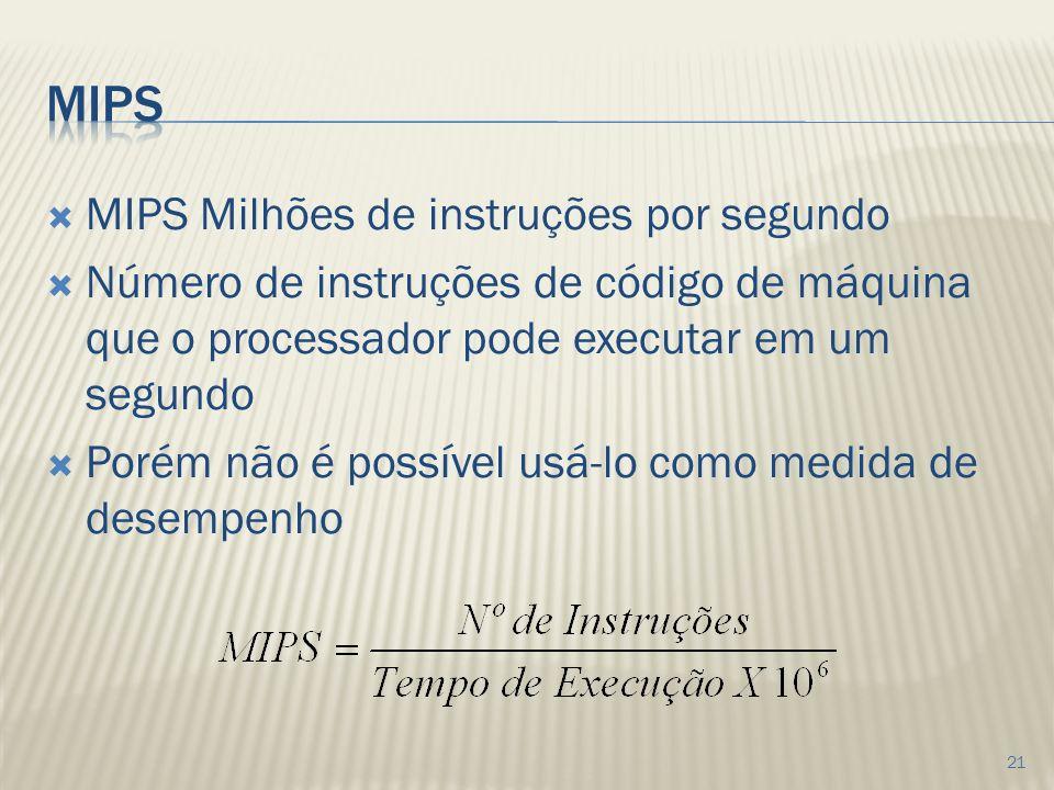 MIPS MIPS Milhões de instruções por segundo