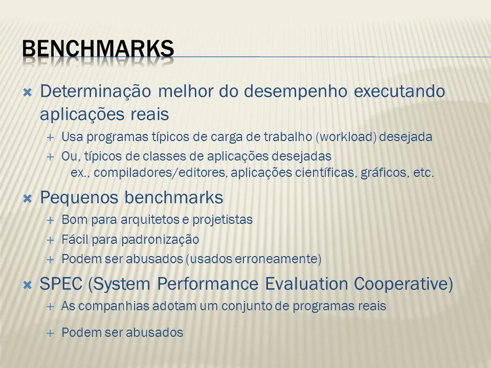 Benchmarks Determinação melhor do desempenho executando aplicações reais. Usa programas típicos de carga de trabalho (workload) desejada.
