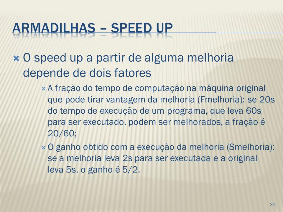 Armadilhas – speed up O speed up a partir de alguma melhoria depende de dois fatores.