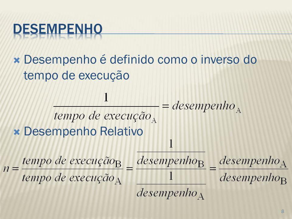 Desempenho Desempenho é definido como o inverso do tempo de execução