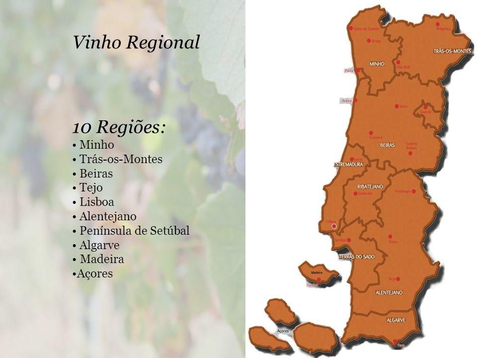 Vinho Regional 10 Regiões: • Minho • Trás-os-Montes • Beiras • Tejo