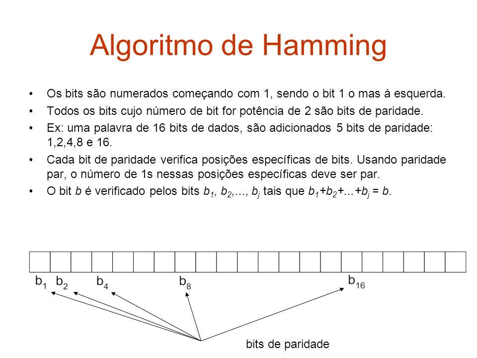 Algoritmo de Hamming Os bits são numerados começando com 1, sendo o bit 1 o mas à esquerda.