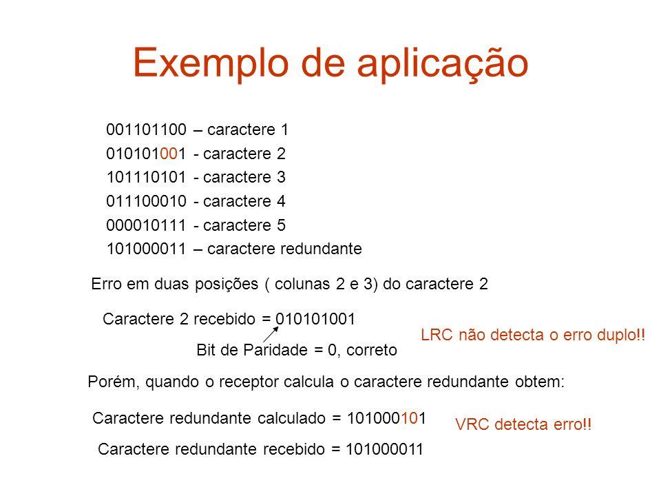 Exemplo de aplicação 001101100 – caractere 1 010101001 - caractere 2