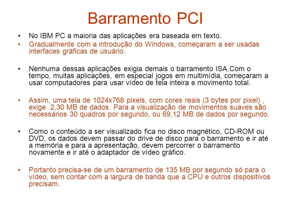 Barramento PCI No IBM PC a maioria das aplicações era baseada em texto.