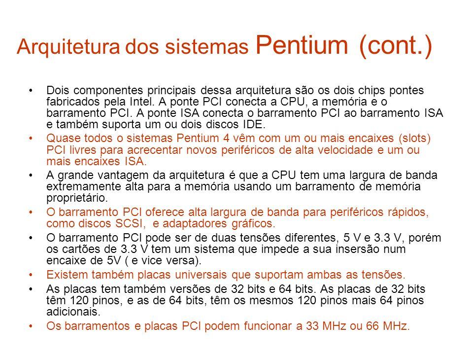 Arquitetura dos sistemas Pentium (cont.)